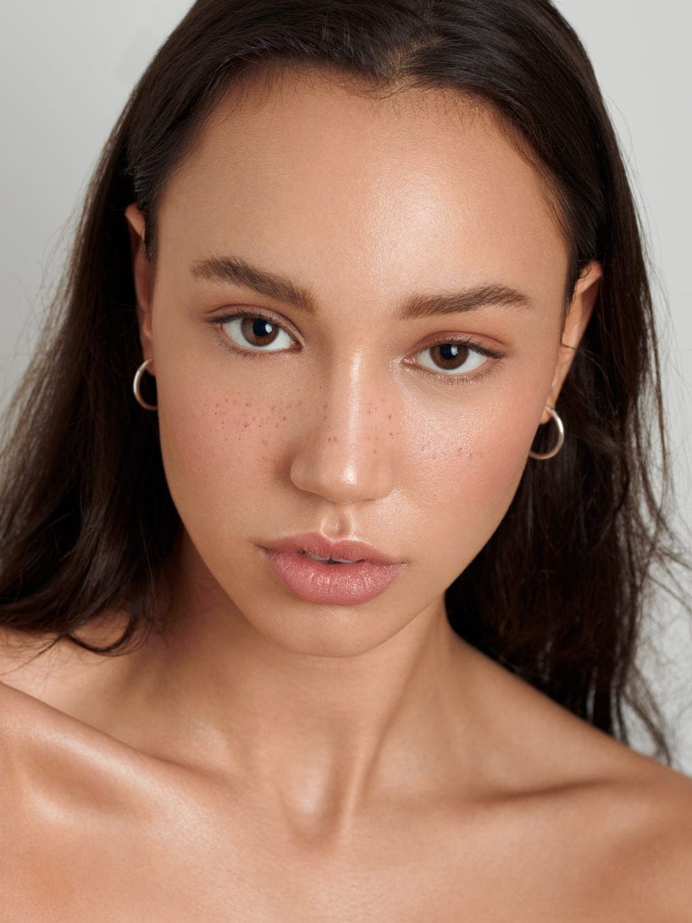 Clean dewy skin beauty freckles