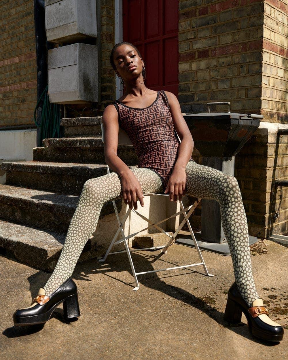 Model wears Fendi shoes