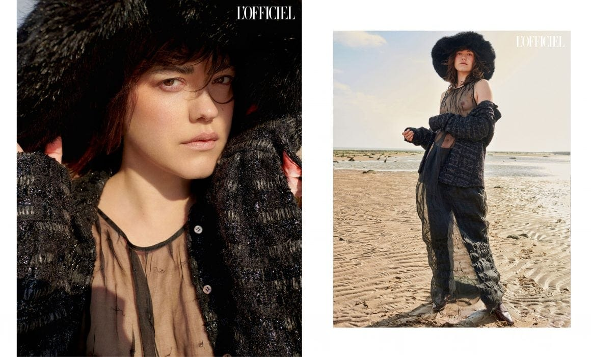 John Sansom for L'Officiel Ukraine with Anna Nevala Emma Brewin hat, Rue Agthonis shirt and trousers, JUNLI dress, miista shoes